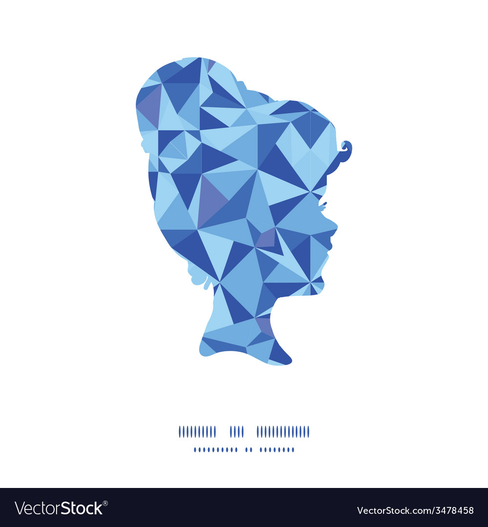 Blue triangle texture girl portrait silhouette vector | Price: 1 Credit (USD $1)