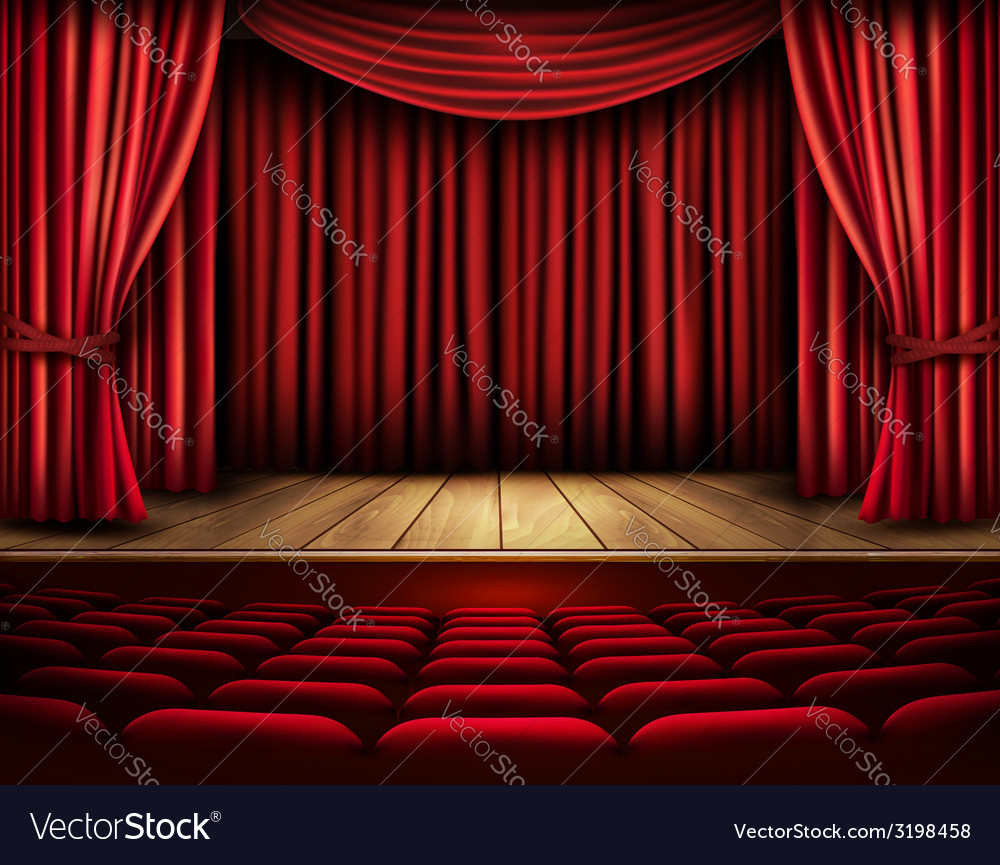 Cinema or theater scene with a curtain vector | Price: 3 Credit (USD $3)