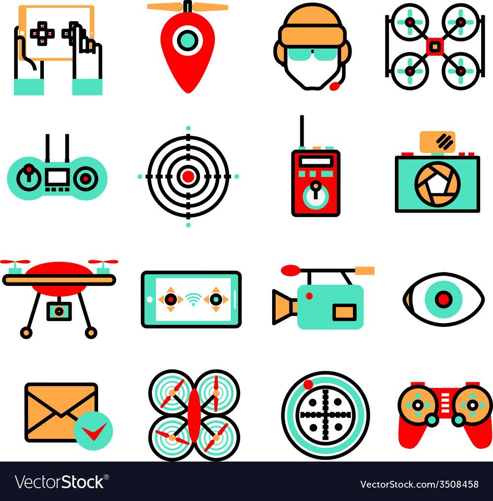 Drones icon set vector | Price: 1 Credit (USD $1)