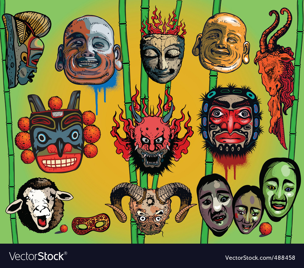 East  asian masks vector | Price: 3 Credit (USD $3)