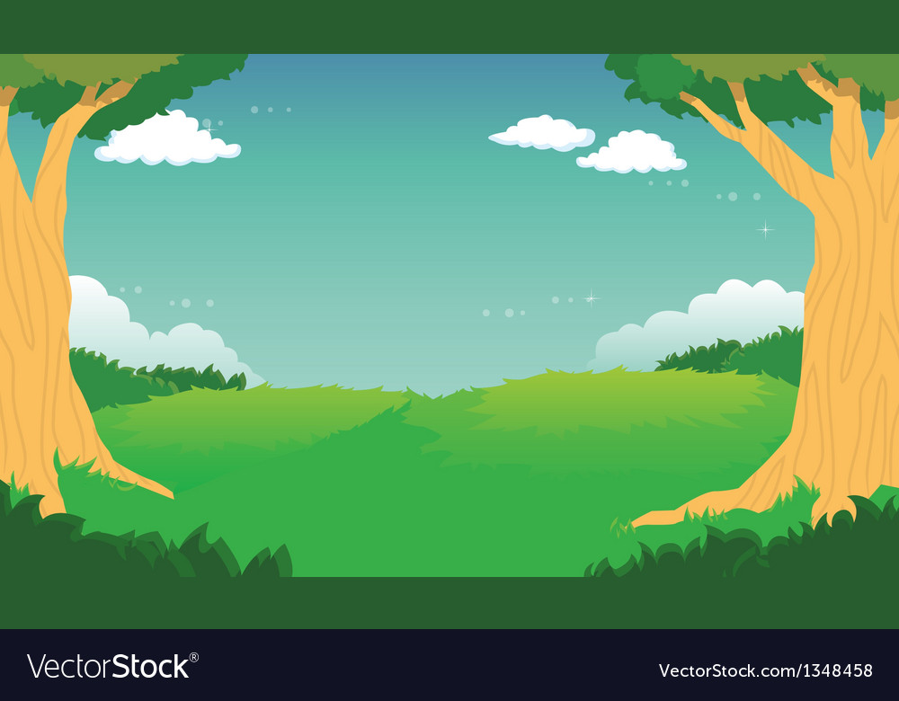 Green forest landscape background vector | Price: 1 Credit (USD $1)
