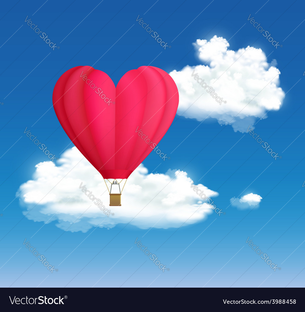 Hot air balloon in the shape of heart on the vector | Price: 1 Credit (USD $1)