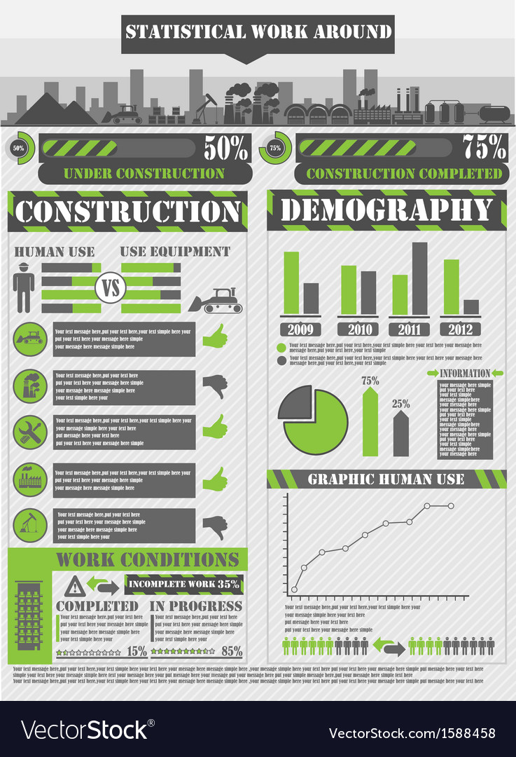 Infographic work green vector | Price: 1 Credit (USD $1)