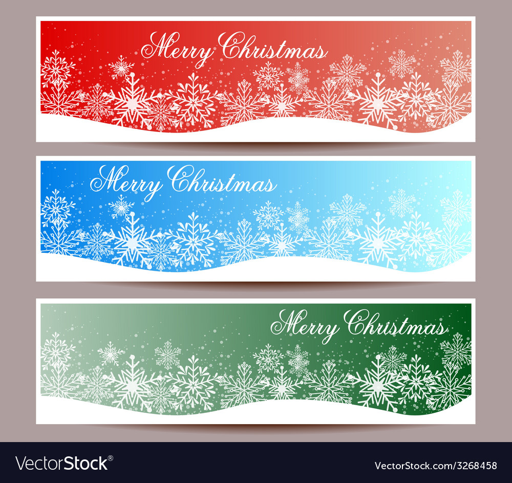 Merry christmas banners set design vector | Price: 1 Credit (USD $1)