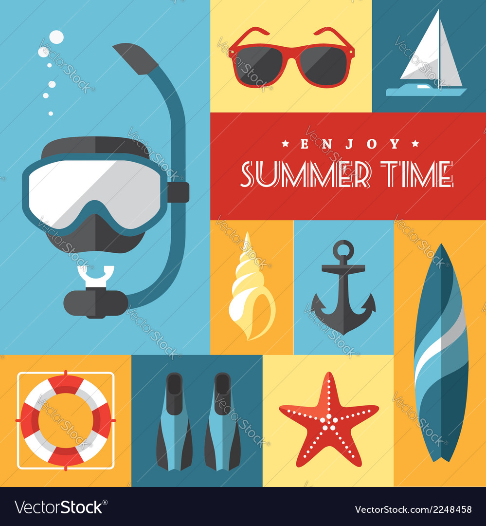 Summer icons set 1 vector | Price: 1 Credit (USD $1)