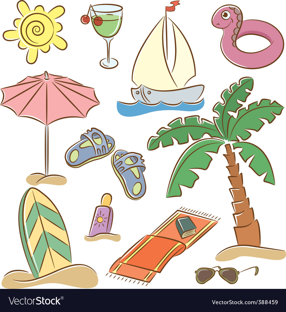 Beach vacation icon set vector | Price: 3 Credit (USD $3)