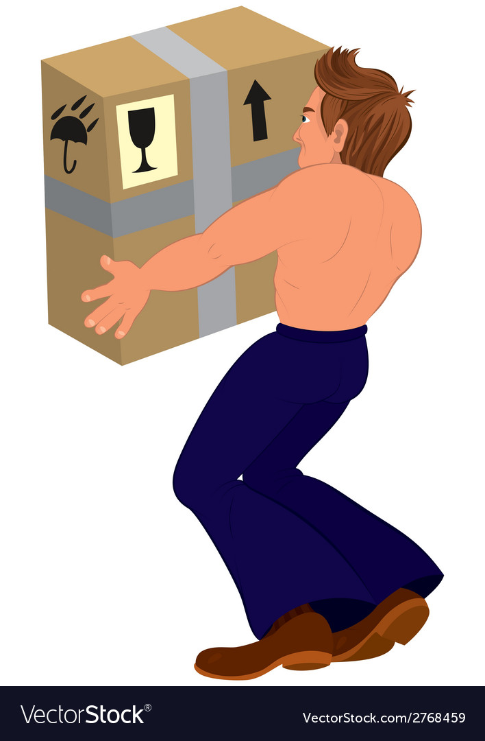 Cartoon topless man holding big box back view vector | Price: 1 Credit (USD $1)