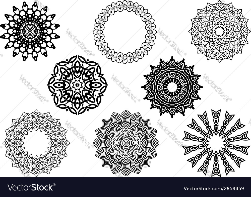 Circle vignette lace ornaments set vector | Price: 1 Credit (USD $1)