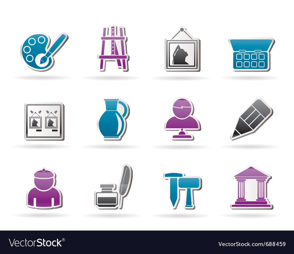 Fine art objects icons vector | Price: 1 Credit (USD $1)