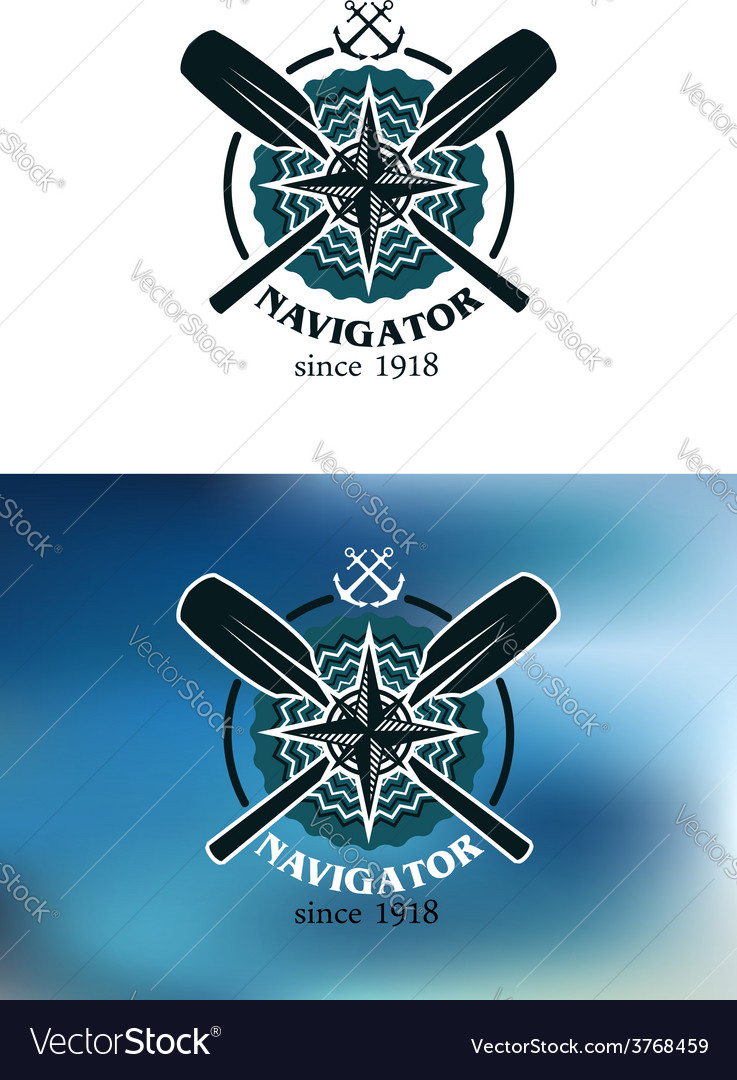 Marine navigator emblem or badge vector | Price: 1 Credit (USD $1)