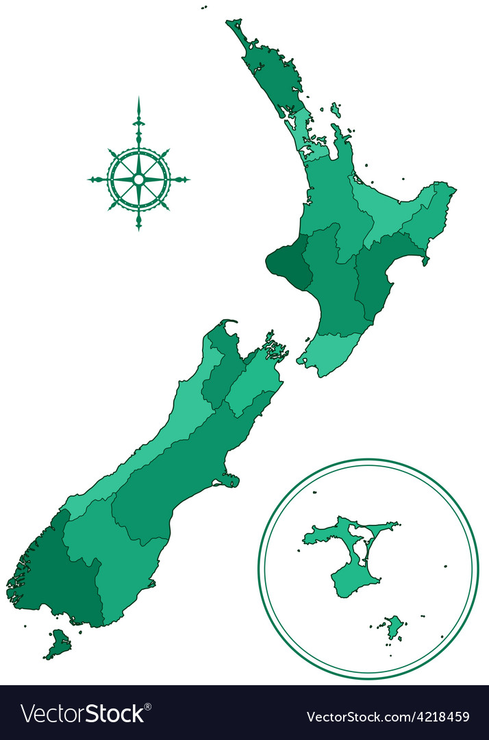 New zealand contour map vector | Price: 1 Credit (USD $1)