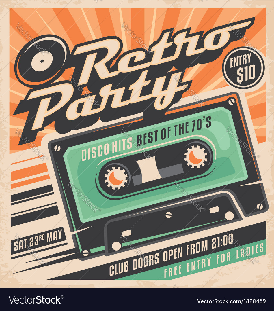 Retro party poster design vector
