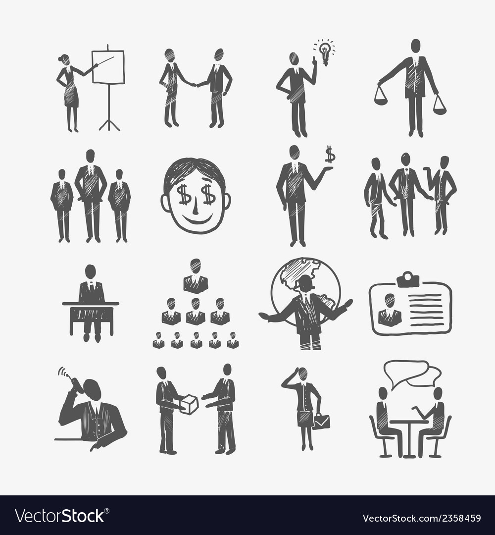 Sketch business people vector | Price: 1 Credit (USD $1)