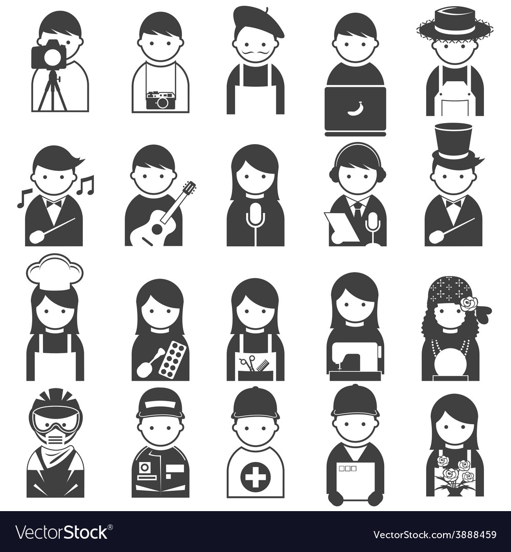 Various people symbol icons occupation and artisan vector