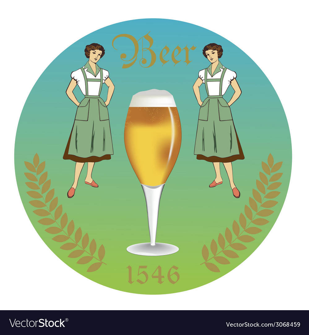 Vintage retro label beer restaurant vector | Price: 1 Credit (USD $1)