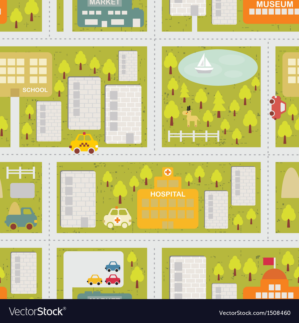 Cartoon map seamless pattern of summer city vector | Price: 3 Credit (USD $3)