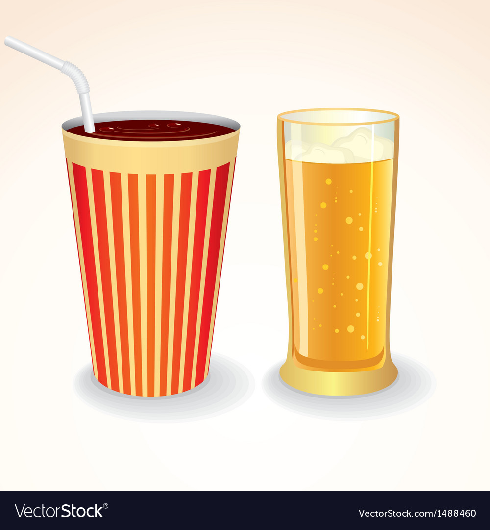 Fast food drinks icon cola cup and glass of beer vector | Price: 1 Credit (USD $1)