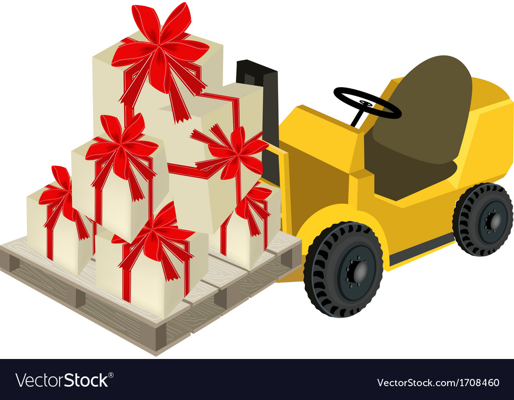 Forklift truck loading a stack of gift boxes vector | Price: 1 Credit (USD $1)