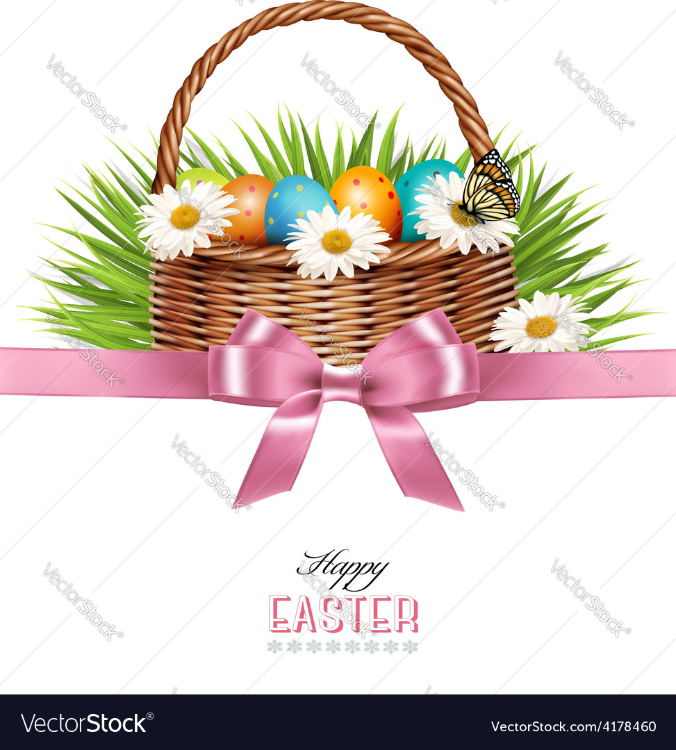 Happy easter background basket with eggs daisies vector | Price: 3 Credit (USD $3)