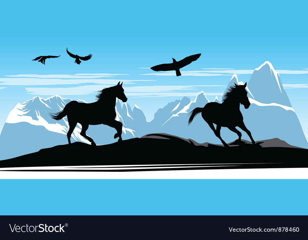 Horses on snow mountains vector | Price: 1 Credit (USD $1)