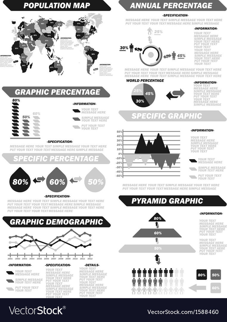 Infographic demographic elements new grey vector | Price: 1 Credit (USD $1)