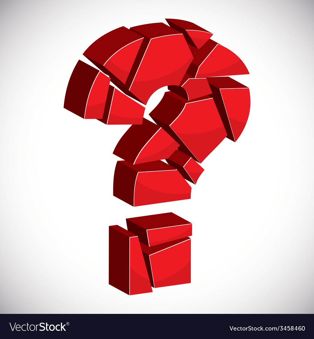 Red sectored 3d question mark on white background vector | Price: 1 Credit (USD $1)