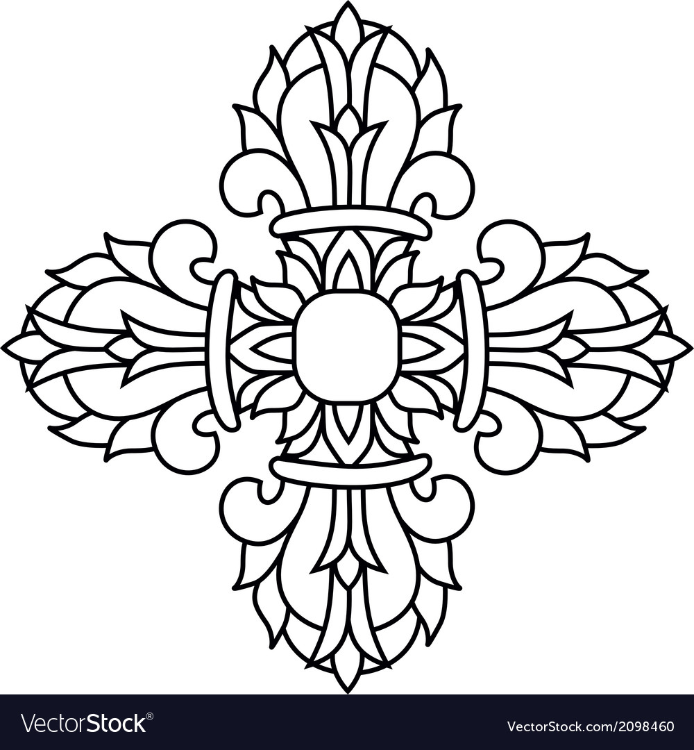 Sacred buddhist religious symbol - vajra or dorje vector | Price: 1 Credit (USD $1)