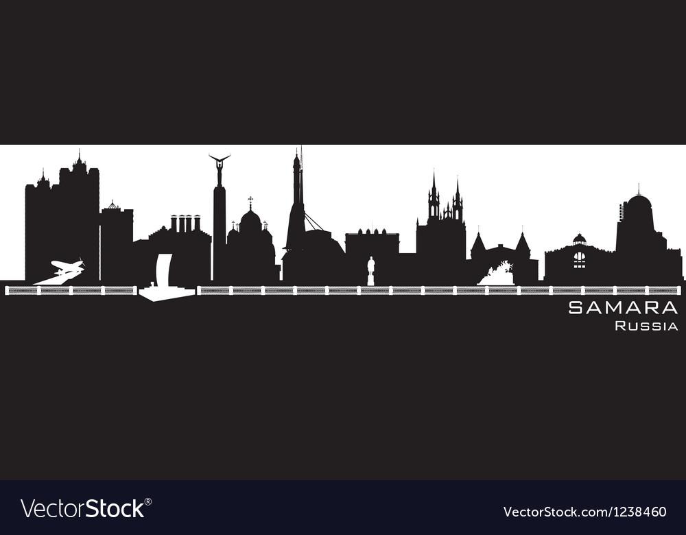 Samara russia city skyline detailed silhouette vector | Price: 1 Credit (USD $1)