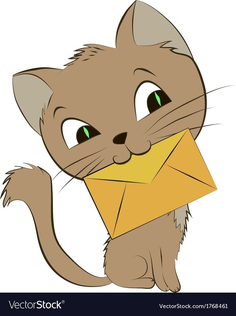 A smiling cat with an envelope on vector | Price: 1 Credit (USD $1)