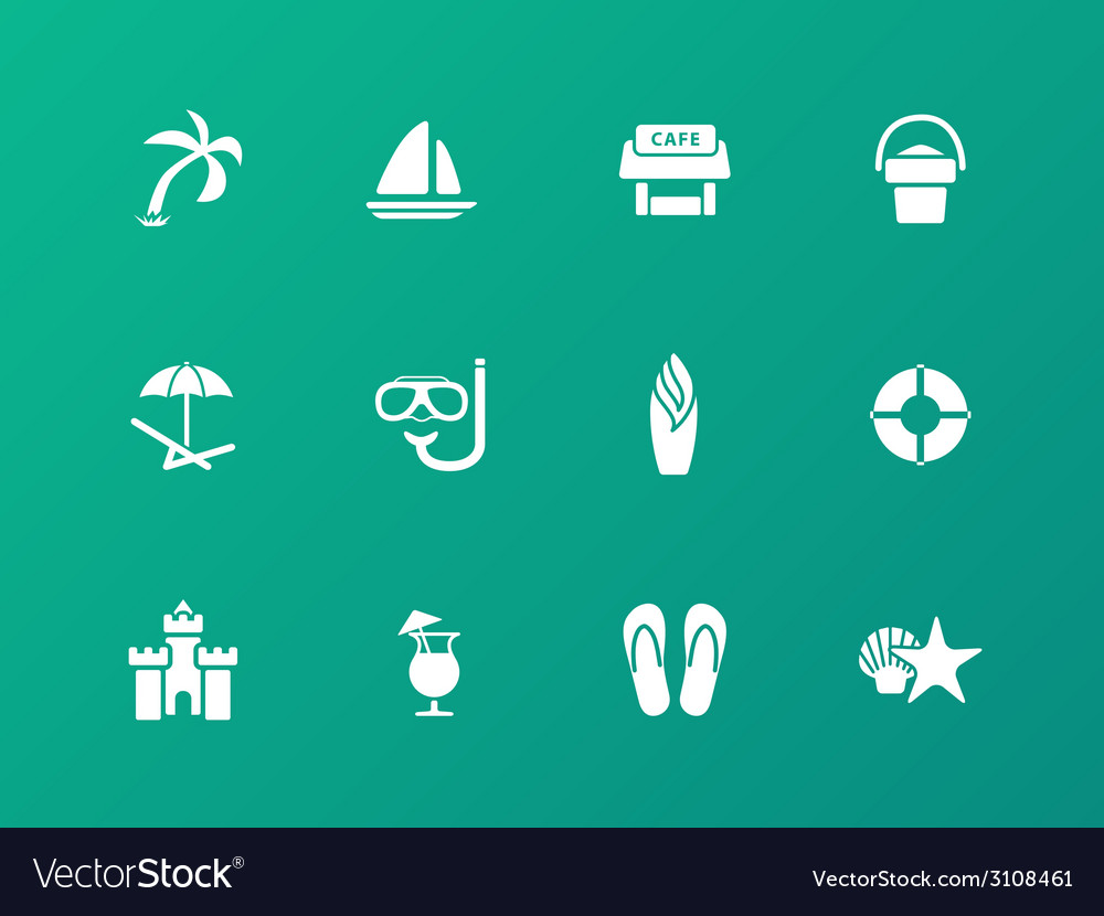 Beach icons on green background vector | Price: 1 Credit (USD $1)
