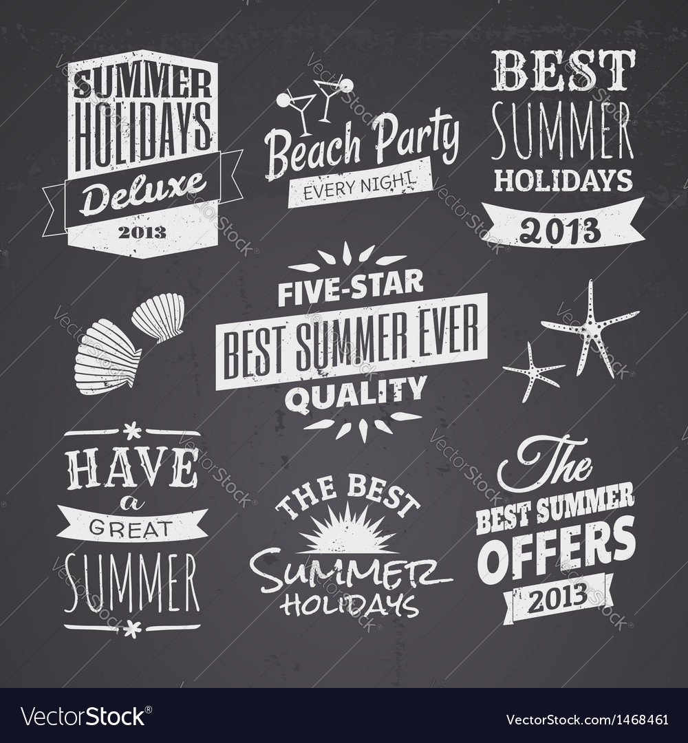 Chalkboard style typographic summer designs vector | Price: 1 Credit (USD $1)