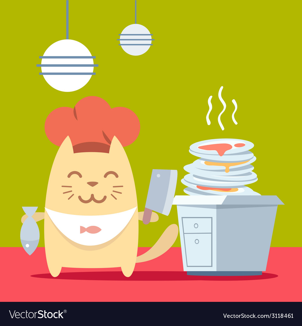 Character chef in a chefs hat colorful flat vector | Price: 1 Credit (USD $1)