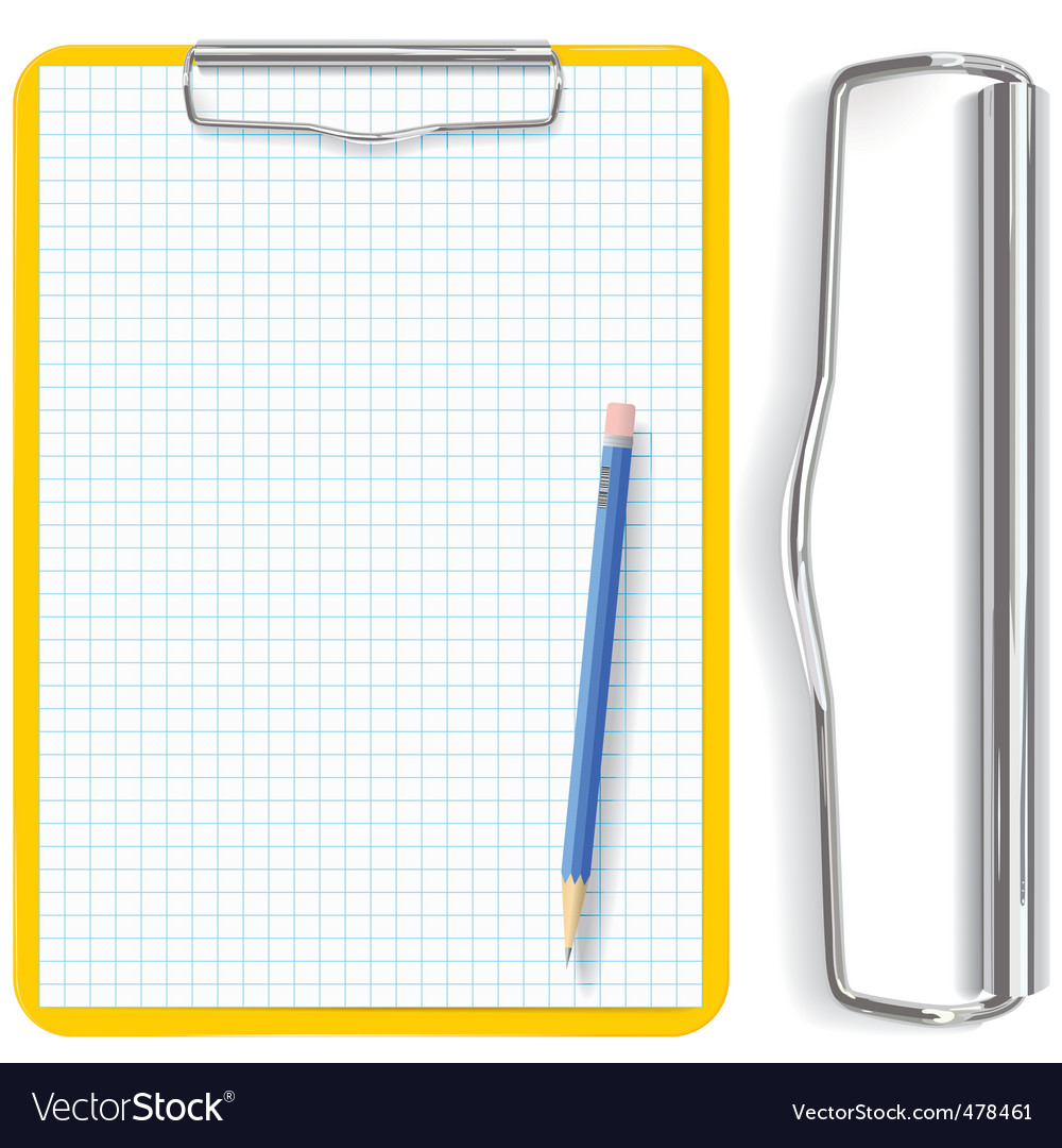 Clipboard pencil and paper vector | Price: 1 Credit (USD $1)