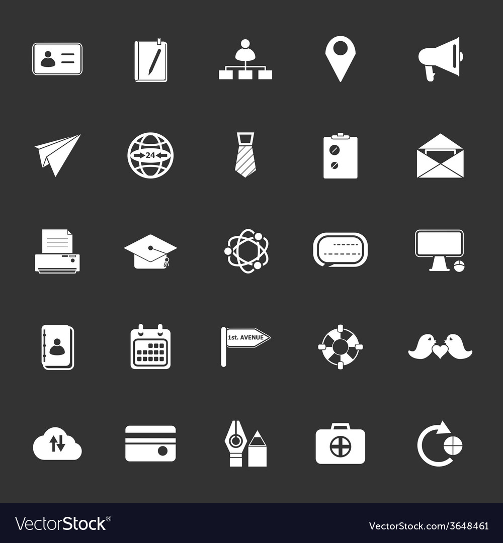 Contact connection icons on gray background vector | Price: 1 Credit (USD $1)