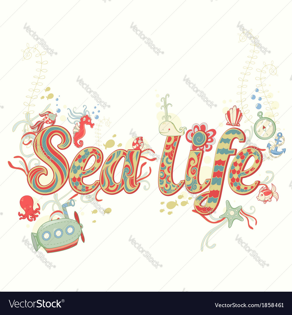 Cute fantasy summer sea card vector | Price: 1 Credit (USD $1)