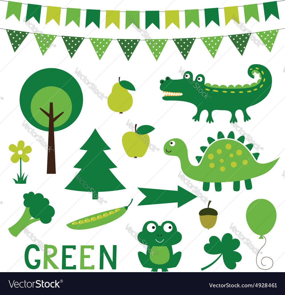 Elements in green color vector