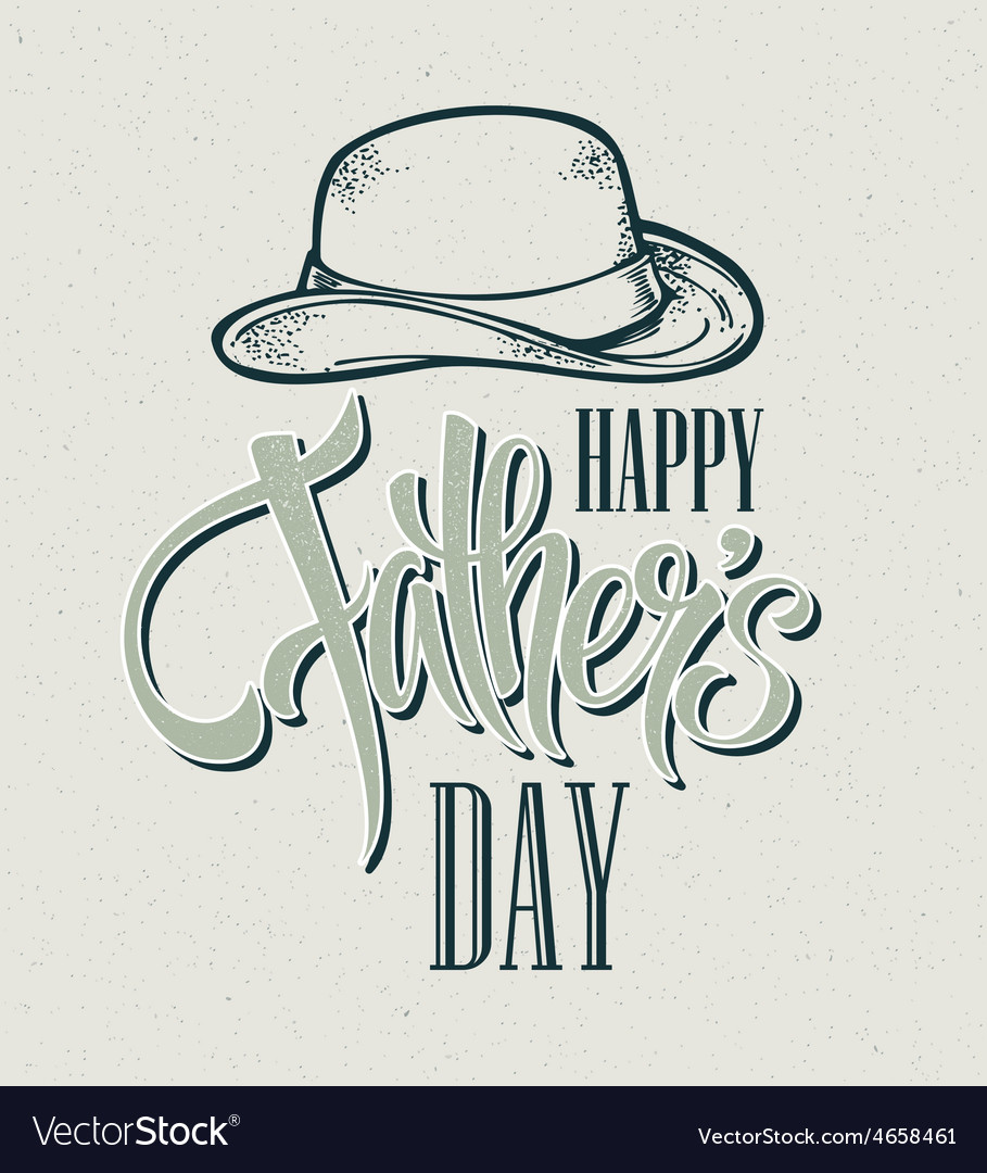 Happy fathers day hand lettering card vector | Price: 1 Credit (USD $1)