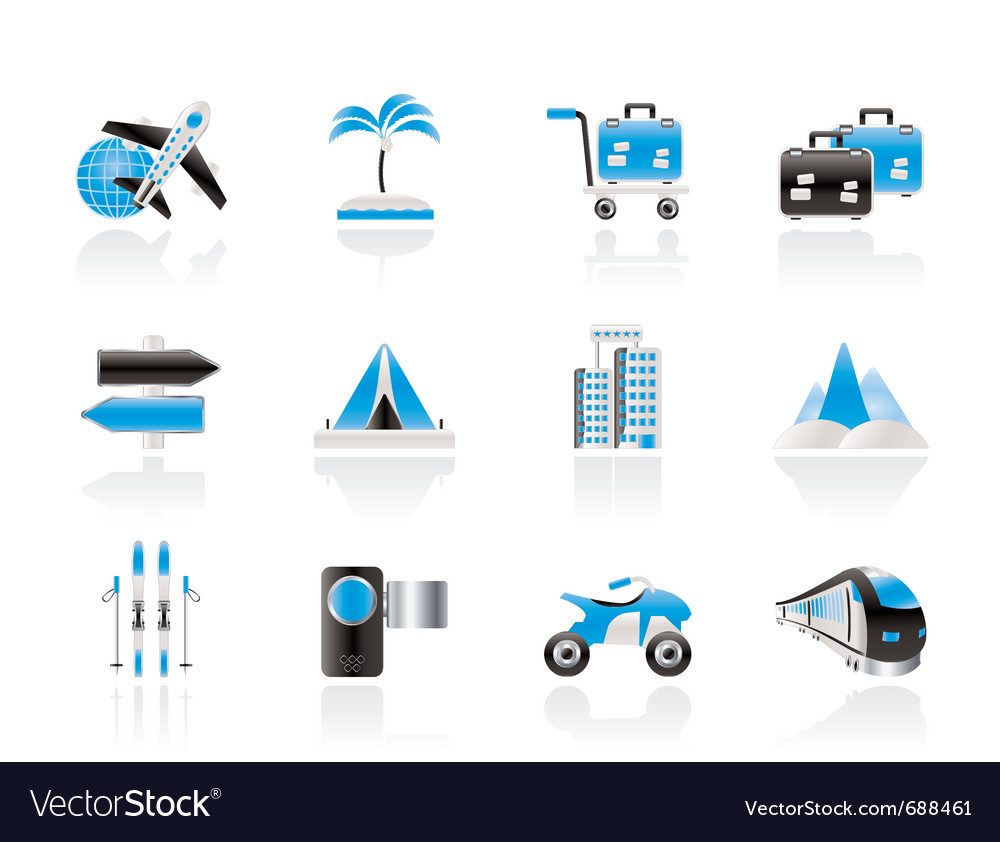 Holiday travel and transportation icons vector | Price: 1 Credit (USD $1)