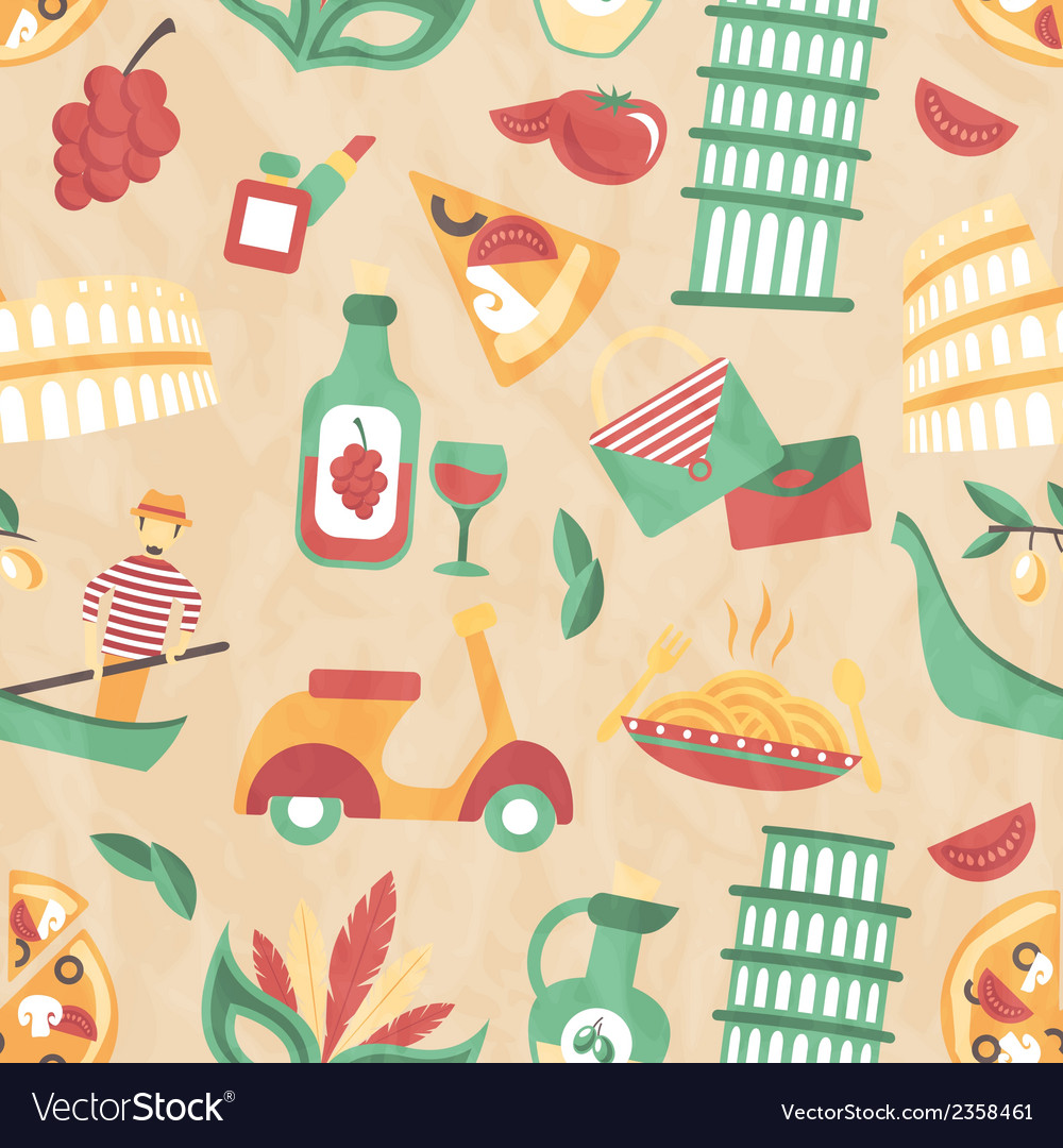 Italy seamless pattern vector | Price: 1 Credit (USD $1)