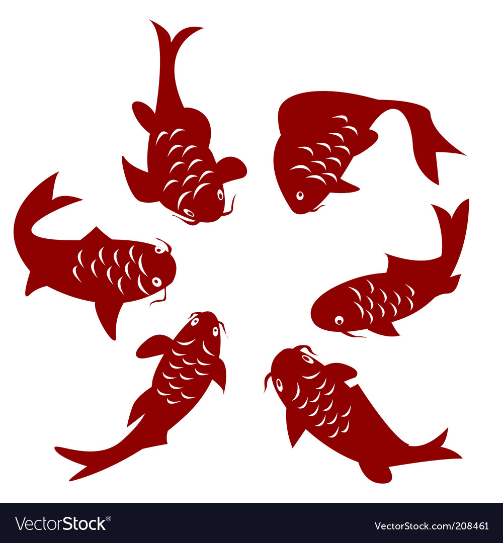 Koi fish silhouettes vector | Price: 1 Credit (USD $1)
