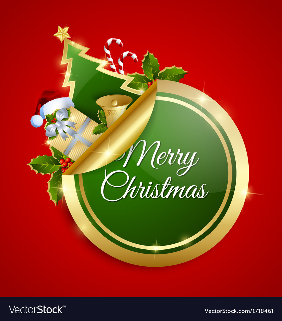 Merry christmas sticker vector | Price: 1 Credit (USD $1)