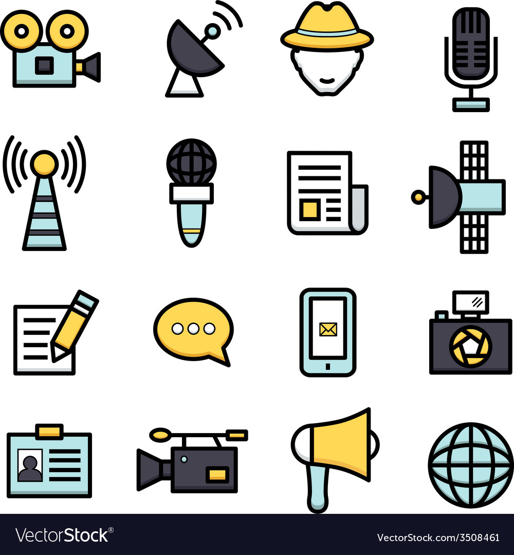 News reporter icons vector | Price: 1 Credit (USD $1)