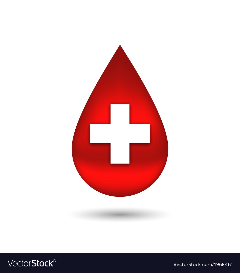 Red blood drop with cross isolated on white vector | Price: 1 Credit (USD $1)