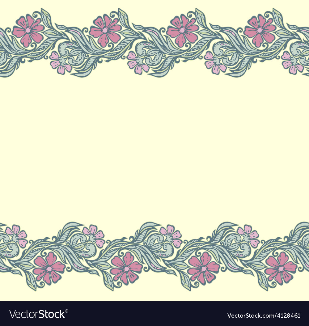 Seamless floral edging pattern vector | Price: 1 Credit (USD $1)