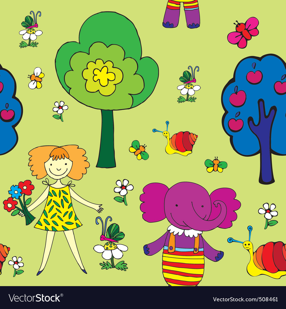 Seamless garden print vector | Price: 1 Credit (USD $1)
