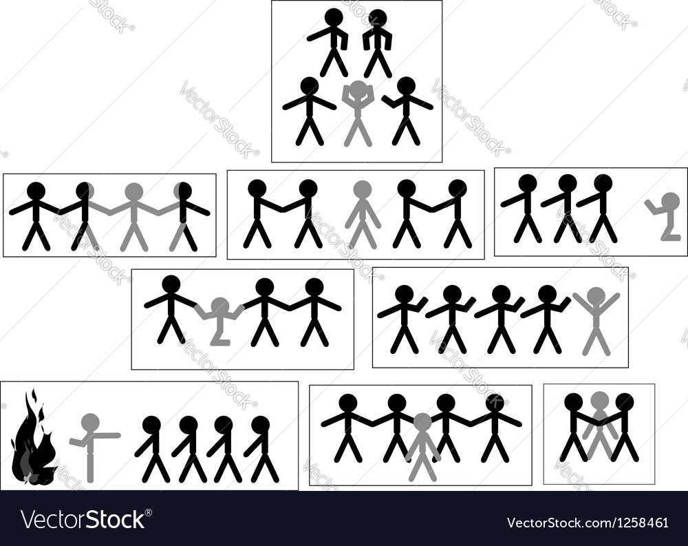 Set of icons and people symbols team work and vector | Price: 1 Credit (USD $1)