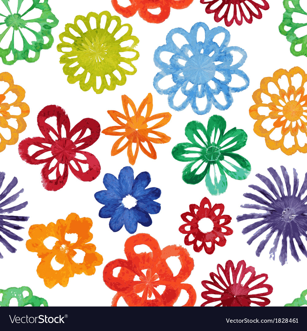 Watercolor abstract flower seamless pattern vector | Price: 1 Credit (USD $1)