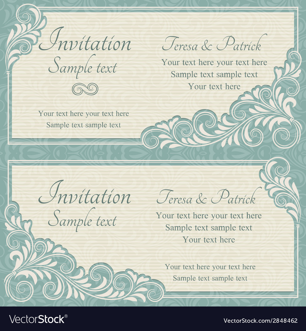 Baroque wedding invitation blue and beige vector   Price: 1 Credit (USD $1)