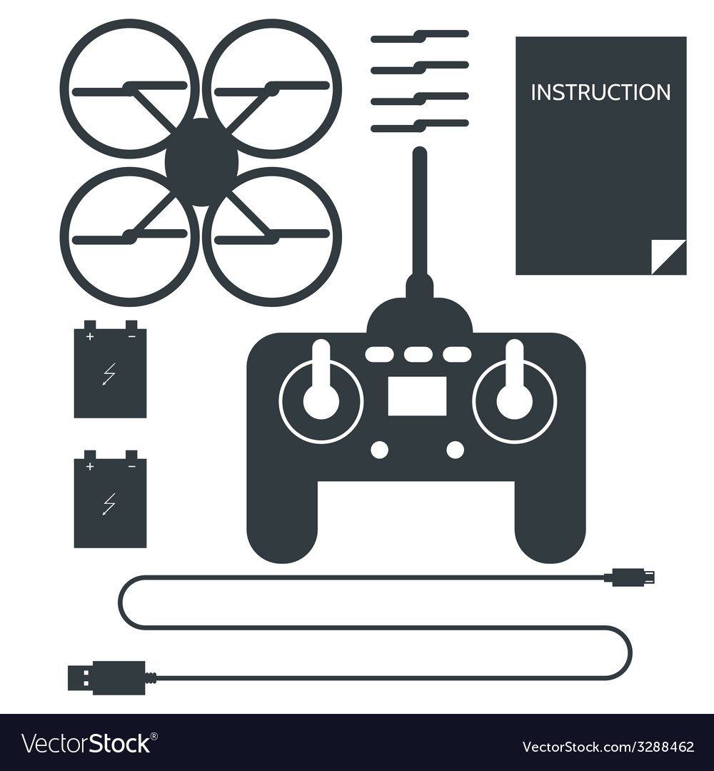 Complete set for quadrocopter flat icons vector | Price: 1 Credit (USD $1)