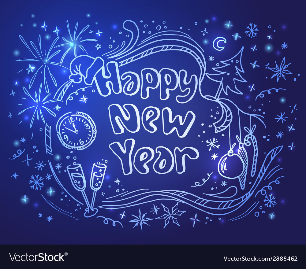 Doodle new year on a blue background vector | Price: 1 Credit (USD $1)